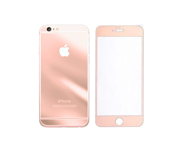 iphone 6 gold front. mirror glass screen protector for iphone \u2013 rose iphone 6 gold front