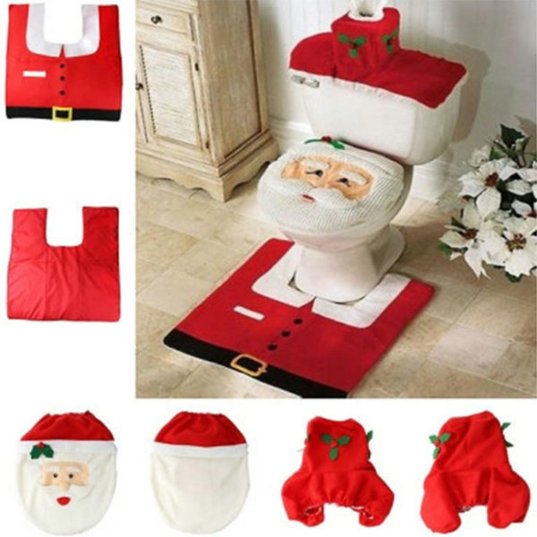 toilet seat covers uk. santa toilet seat cover with rug bathroom mat  3 Piece Santa Toilet Seat Cover Set UK Planet Of Accessories