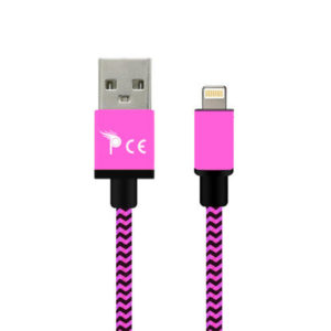 2 Meter 8 Pin Strong Braided Fabric Sync/Charge Cable Pink