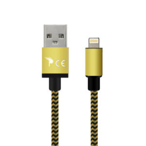 3 Meter 8 Pin Strong Braided Fabric Sync/Charge Cable Gold