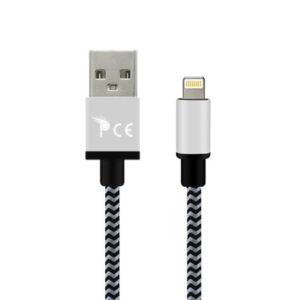 3 Meter 8 Pin Strong Braided Fabric Sync/Charge Cable Grey