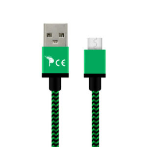 2.0 Micro USB Type B Strong Braided Fabric Charging Cable 1 Meter Green