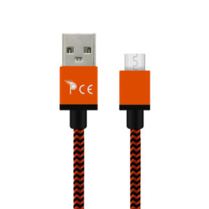 2.0 Micro USB Type B Strong Braided Fabric Charging Cable 1 Meter Orange