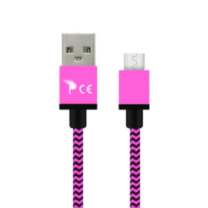 2.0 Micro USB Type B Strong Braided Fabric Charging Cable 1 Meter Pink