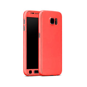 Full Body Cover with Tempered Glass Screen Protector For Samsung A3 (2017) Red