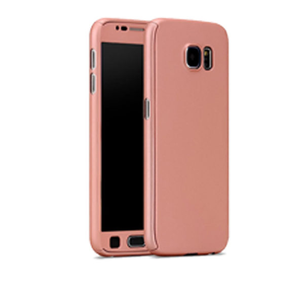Full Body Cover With Tempered Glass Screen Protector For Samsung S6 Rose Gold