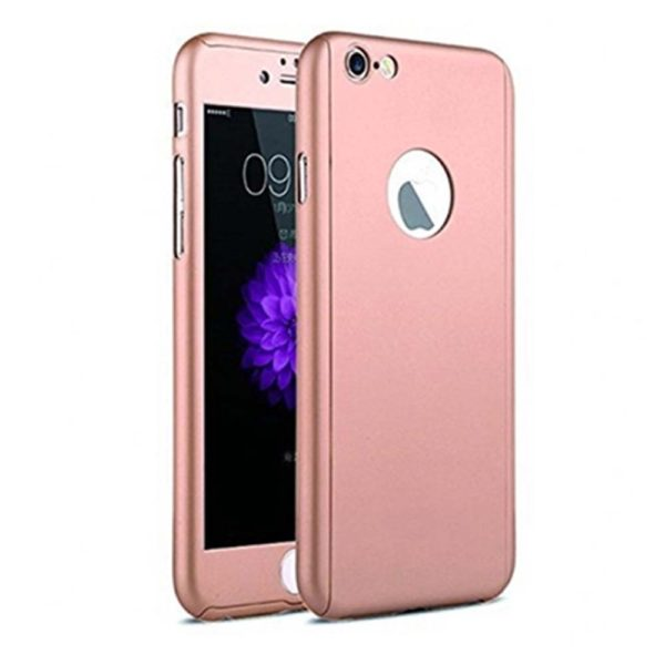new styles 87c9d 24235 Full Body Cover with Tempered Glass Screen Protector For iPhone 8 Plus Rose  Gold