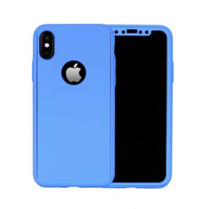 360 Cover with Tempered Glass Screen Protector For iPhone X Blue