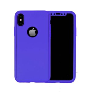 360 Cover with Tempered Glass Screen Protector For iPhone X Dark Blue