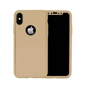 360 Cover with Tempered Glass Screen Protector For iPhone X Gold
