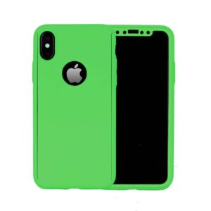 360 Cover with Tempered Glass Screen Protector For iPhone X Green