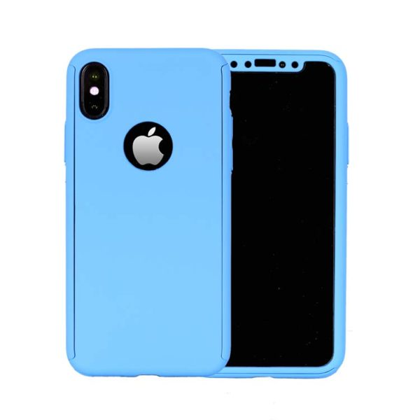 360 Cover with Tempered Glass Screen Protector For iPhone X Light Blue 1