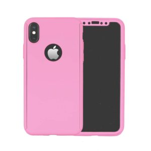 360 Cover with Tempered Glass Screen Protector For iPhone X Light Pink