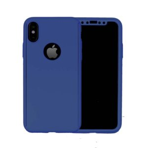 360 Cover with Tempered Glass Screen Protector For iPhone X Navy Blue
