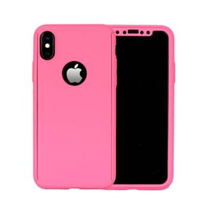 360 Cover with Tempered Glass Screen Protector For iPhone X Pink