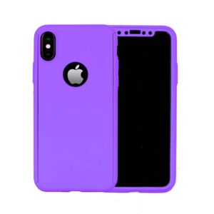 360 Cover with Tempered Glass Screen Protector For iPhone X Purple