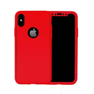 360 Cover with Tempered Glass Screen Protector For iPhone X Red