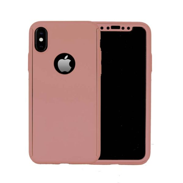 360 Cover with Tempered Glass Screen Protector For iPhone X Rose Gold 1