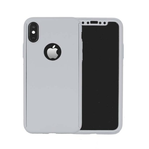 wholesale dealer 607f2 78765 360 Cover with Tempered Glass Screen Protector For iPhone X / Xs Silver