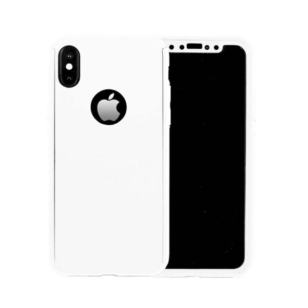 size 40 1ff3d dc405 360 Cover with Tempered Glass Screen Protector For iPhone X / Xs White