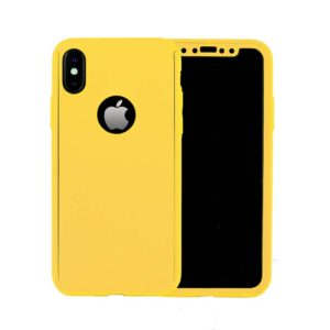 360 Cover with Tempered Glass Screen Protector For iPhone X Yellow