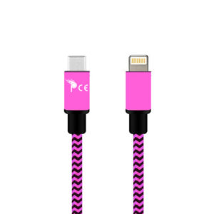1 Meter Type C to 8 Pin Strong Braided Fabric Sync/Charge Cable Pink