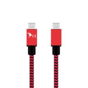 1 Meter Micro USB Type C to Micro USB Type C Strong Braided Fabric Sync/Charge Cable Red