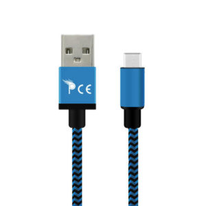 1 Meter Type C to USB 2.0 Strong Braided Fabric Sync/Charge Cable Blue