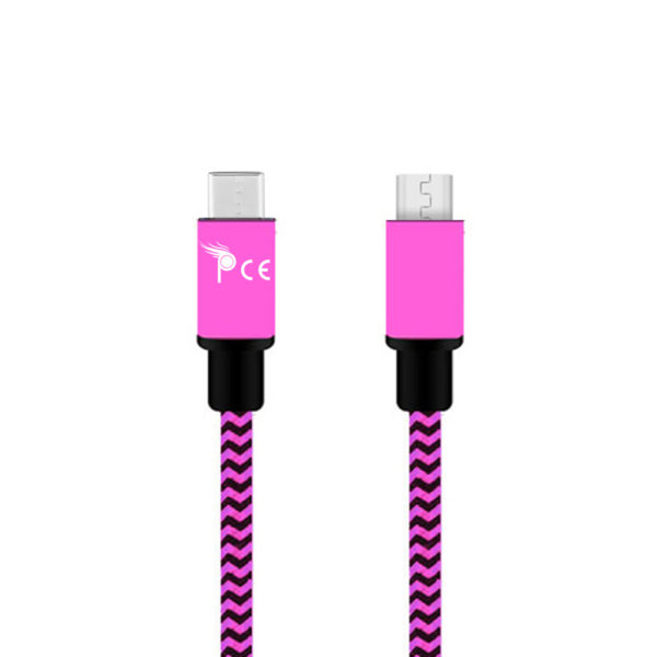 Micro-usb-type-c-to-usb-type-b-braided-1-meter-usb-charging-data-cable-Pink-1